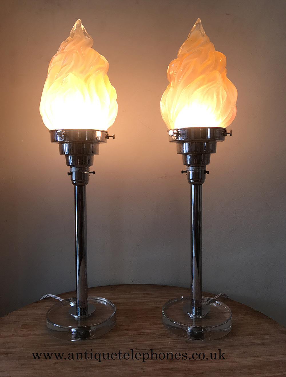 Pair Of Art Deco Chrome With Flame Shaped Glass Shades Pair Of