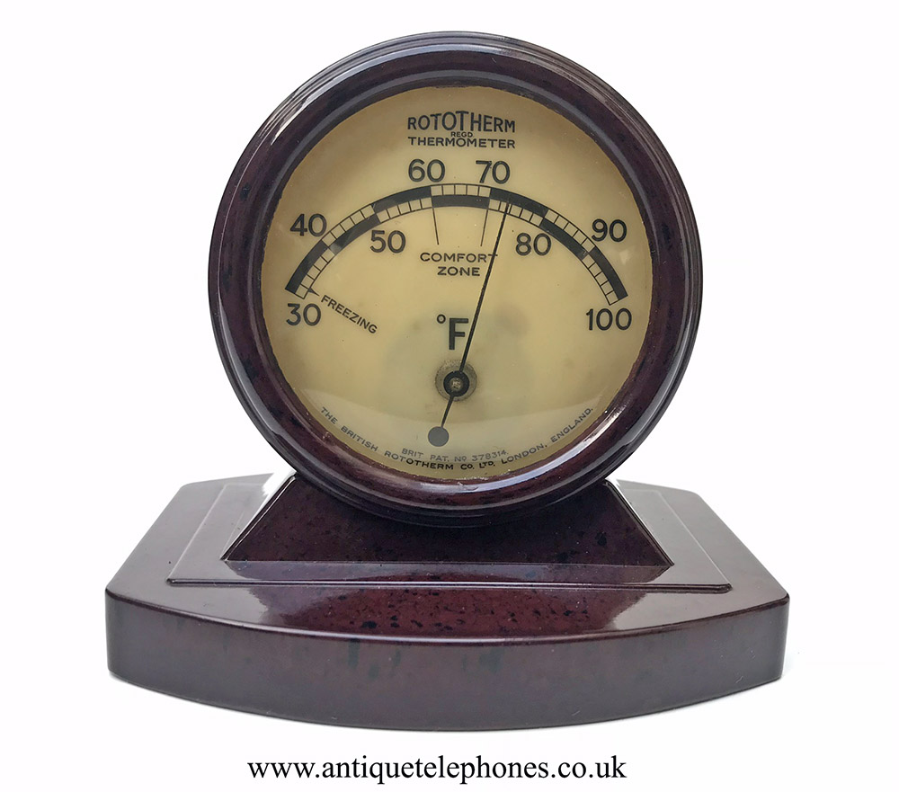 The Little Store >> Red Brown mottled Bakelite Rototherm Thermometer.